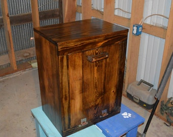 Wood trash bin cabinet small, tilt out trash bin