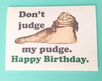 Star Wars Birthday card and envelope - Jabba - Geek birthday card - Star wars birthday star wars gift star wars present