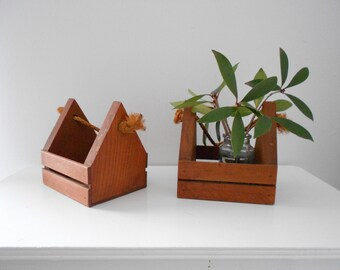 Geometric Wooden Planter - Modern Hanging Planter
