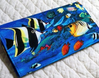 Handmade checkbook cover / wallet Tropical Fish Paradise Reef or large wallet