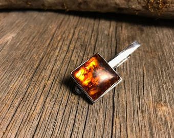 Tie Clip: Baltic Amber 20 mm, square