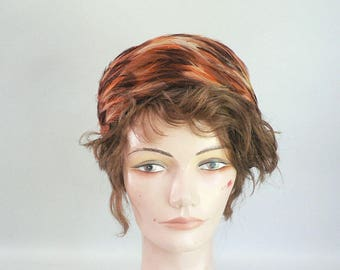 Vintage Brown / Coral Feather Hat