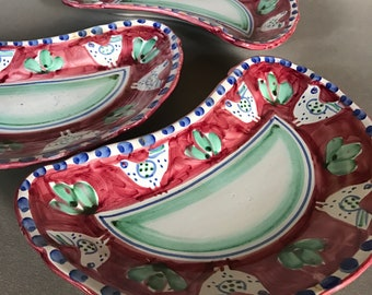 Vintage 3 Italian pottery plate bowls home decor