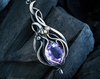 "silver pendant, wire wrapped pendant, wire wrapping necklace with amethyst ""VIOLETTA"""