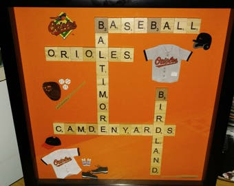 """Orioles Scrabble Picture with 12""""x12"""" Shadowbox"""