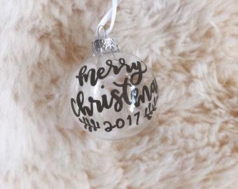 Custom Clear Glass Christmas Ornament