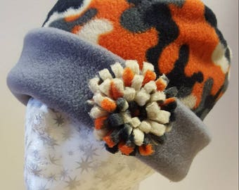 Lovely Warm Fleece Pill Box Hat in Orange Camoflage