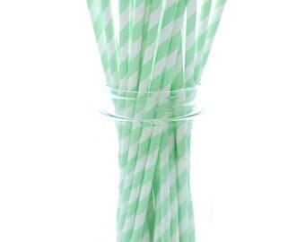 Mint Green Party Straws, Big Straws, Crazy Drinking Straws, Party Supplies Straws, 25 Pack - Mint Green Stripe Straws