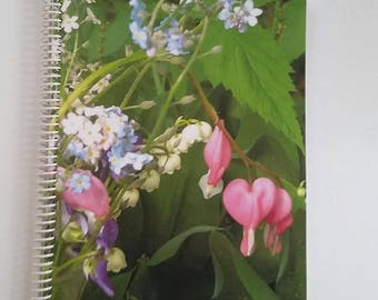 GARDEN JOURNAL bleeding hearts, stationary, book, valentines day, photography, nature