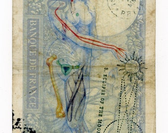 "Original mixed media art, 'Dirty Money Lida' approx 3.5"" X 5.5"""