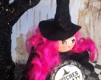 Witches Be Crazy witch doll halloween ornament pink hair halloween decor vintage retro inspired art doll