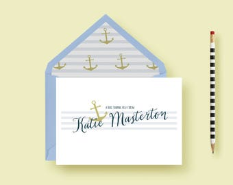 Nautical Striped Thank You Cards, Foldover Stationery Set, Anchor Personalized Notes, Custom Note Cards, Birthday Gift, Printable or Printed