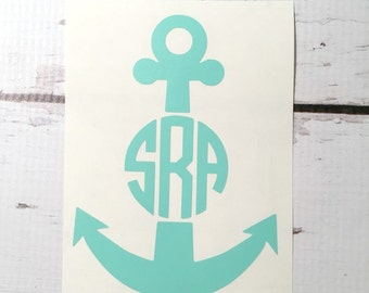 Anchor Monogram Decal Nautical Vinyl Monogram Decal Anchor Beach Nautical Monogram