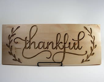 """Routed Wood Sign- """"Thankful"""""""