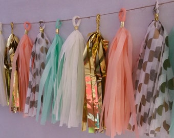 Peach Mint Green and Gold,  20 Tassel Tissue Paper Garland, Paper Party Decorations, Tissue Tassels, Peach Wedding Party Decorations, Fringe