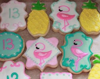 Personalized Pineapple & Flamingo Sugar Cookies