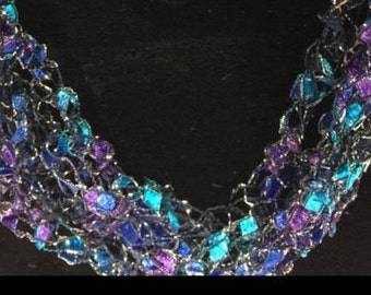 LONG Magestic Necklace Crocheted Italian Yarn Necklace