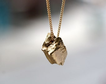 natural brass nugget pendant necklace gift for metalsmith