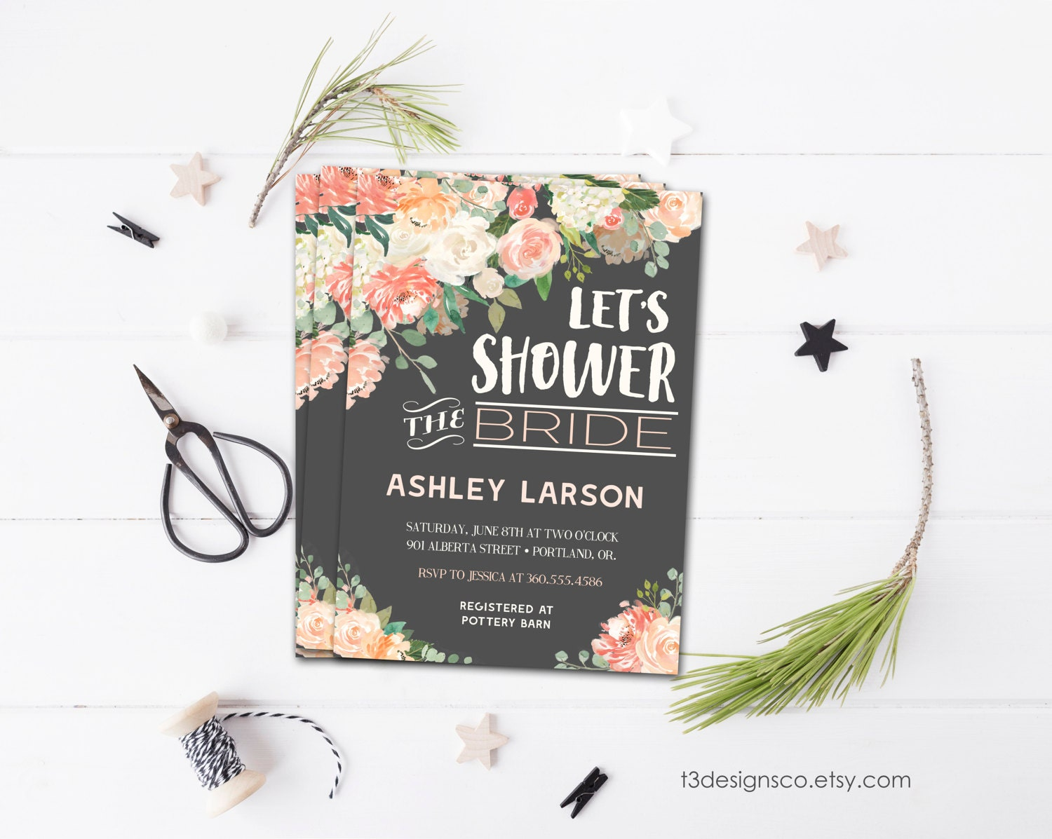Floral Bridal Shower Invitation, Boho Bridal Shower Invitation ...