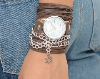 Wrap Watch, Brown Leather Watch, Leather Wrap Watch, Leather Wrap Around Watch, Quartz Watch, Watches For Women, Boho Watches, Hippie Watch