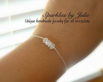 Skinny MOONSTONE bracelet - June birthstone, Flashy Moonstone rondelles, Sterling silver components,  Adjustable, Dainty, Elegant & Unique