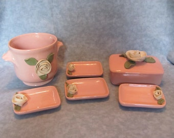 Pink Ceramic Vanity Set with Roses / 7 Piece Vanity Set with Roses