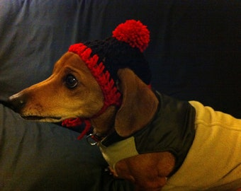 Crocheted Dachshund beanie with red trim and red Pom Pom