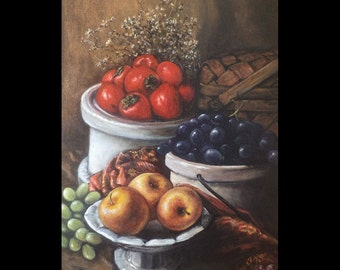 Fruit, Still Life, Original Painting, Kitchen Art, Food, Foodie Art, Restaurant Art, Harvest, Persimmon, Picnic Basket, Grapes, Apples