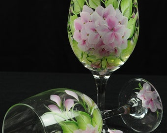 Hand Painted Large Wine Glass / Soft Pink Hydrangeas On Clear Glass