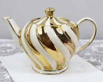 Vintage Sadler Thick Gold Swirled Personal Small Sized Pottery English Teapot - Tea Party, Wedding Gifts for Her