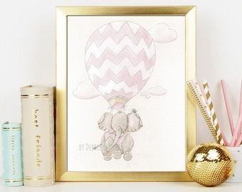 Elephant Travel Theme, Elephant Hot Air Balloon Nursery, Girl Baby Shower Gift, Vintage, Blush Pink Chevron, Fine Art Print 6 Sizes Unframed