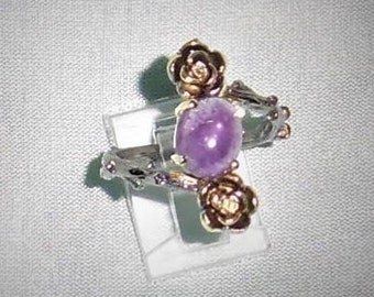 Natural 25TCW Amethyst gemstone with flowers, Black Rhodium, Sterling Silver Ring size 8 1/2