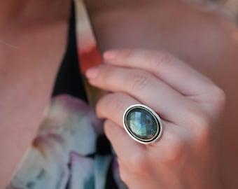 Labradorite Ring * Sterling Silver 925 * Handmade * Gemstone * Jewelry * Boho * Bohemian * Statement * Hippie * Valentine's Gift BJR052