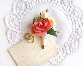 Romantic Wedding Boutonniere, Men's Boutonniere, Custom Color, Blush Felt Flower, Groomsmen, Lapel Flower, Coral, Rustic Chic Ceremony