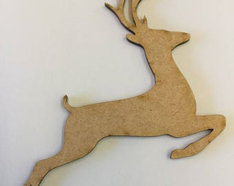 Leaping Reindeer MDF Shapes - 3mm Lasercut - 4 Sizes Available
