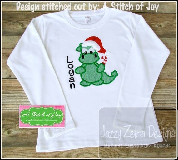Christmas Dragon Appliqué embroidery Design - Christmas Appliqué Design - dragon Applique Design - dinosaur Applique Design - Santa Applique