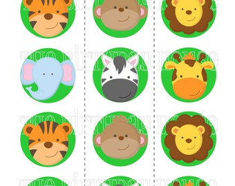 INSTANT DOWNLOAD - PRINTABLE Jungle Friends Party Rounds - Assorted Zoo Animal Cupcake Toppers by The Birthday House