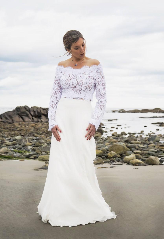 Braut Langarm Shirt aus Spitze Chantilly Spitze Hochzeit