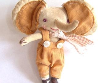 Primitive cloth doll, Byron the elephant