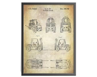 Forklift Truck Patent Art Print - Forklift Patent Art Print - Warehouse Related Patent Art Print -