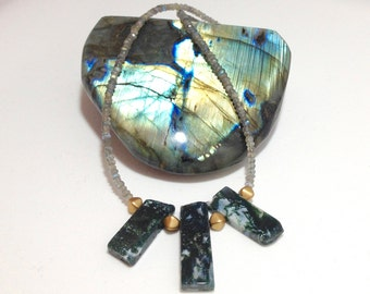 Beaded Labradorite Moss Agate Gemstone Necklace