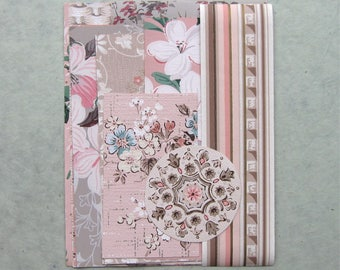 Pink Vintage Wallpaper Scrap Pack 16 Pieces for Collage Scrapbooking Papercrafts