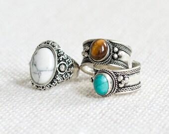 Tibetan Turquoise Jewel Bohemian Trinket Ring - Tigers Eye - Boho Cuff-Vintage Silver Amulet Jewellery-Thumb Rings -Gemstone Opal-Adjustable