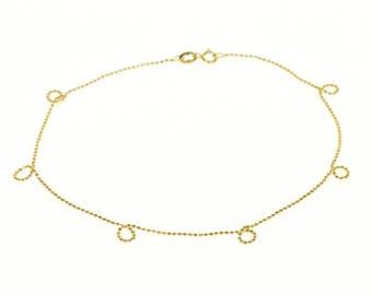"""18k Ball Bearing Beaded Chain Link Bracelet Gold 9"""""""