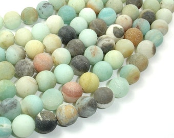 Matte Amazonite Beads, 10mm(10.6mm) Round Beads, 15 Inch, Full strand, Approx 37 beads, Full strand, Hole 1 mm, A quality (111054028)