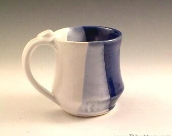 Ceramic Mug - Handmade Stoneware Coffee Cup - Tea Drinking Vessel - Ready to Ship - Mom, Dad, or Grad Gift - Royal Blue and White m298