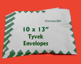 "10 Tyvek First Class Envelopes. Ten 10"" x 13"" Tyvek Mailers. 5344"