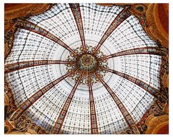 Galeries Lafayette ceiling, Paris photography, Paris architecture, stain glass dome, travel photography, Paris art print, Paris home decor
