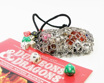 Large Chainmaille Dice Bag For Dungeons And Dragons Gaming - LARP - Stainless Steel - SKDB-SS-L