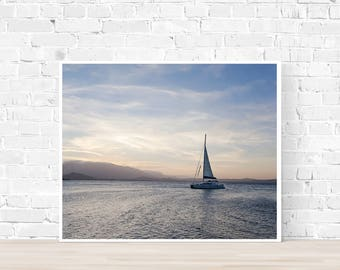 Nautical Photography, Sail Boat, Sunset photography, Ocean Photography, Coastal wall art, Blue photo, ocean print, water print